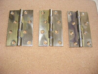 """3 Vintage Brass  Butt Hinges 4"""" Ideal For Heavy Doors"""