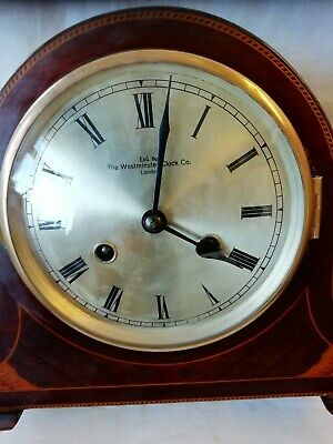 (656)  Wooden Dark Brown Mantel Peice Clock Wind Up Movement Made By Westminster