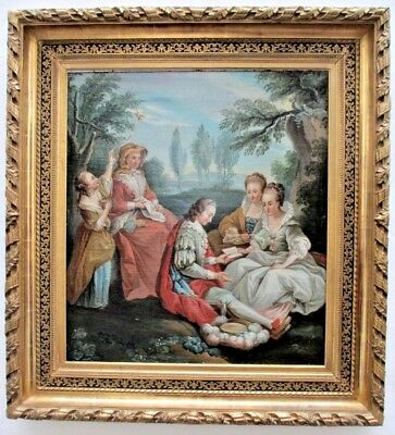 Amazing 18th century French Galant Scene in Landscape Original Oil Painting