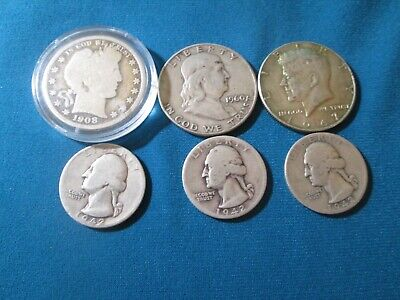 6 Silver Coin Lot 3-Half Dollars 3- Quarters See Pictures & Description