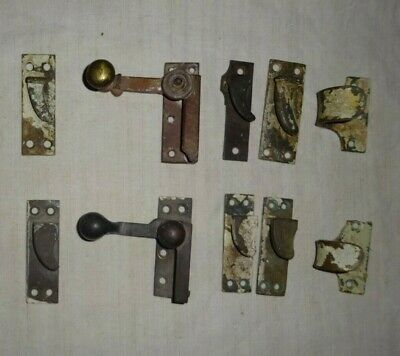 1880s Victorian Brass Sash Window Latch Catch-Fasteners, 2 sets and spares