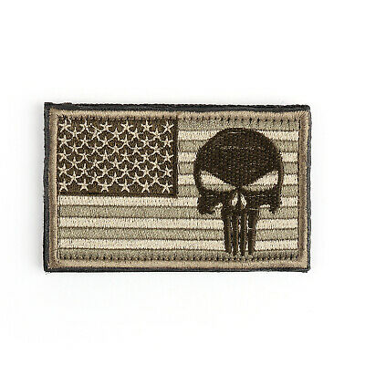 Punisher Skull USAa Army Flag Morale Badge Embroidered Tactical Hook Patch B USA