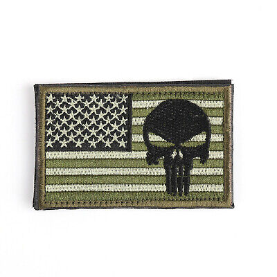 Punisher Skull USAa Army Flag Morale Badge Embroidered Tactical Hook Patch A USA
