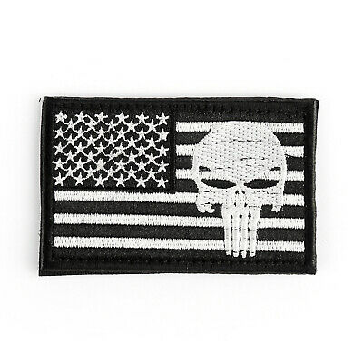 Punisher Skull USAa Army Flag Morale Badge Embroidered Tactical Hook Patch C USA