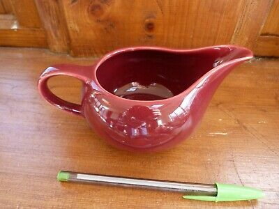 Vintage plum colour milk jug, Art Deco or 1950s(?) burgundy jug or sauce boat