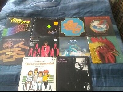 Lot of 10 Classic Rock Vinyl LP's Asia,Steve Miller,Chicago,Rod Stewart & More