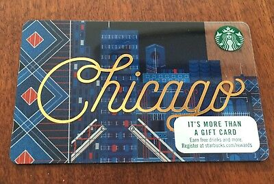 LOT of 5 (FIVE): STARBUCKS 2017 CITY GIFT CARDS: CHICAGO SKYLINE  - $0