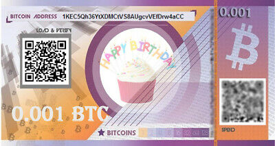 Prepaid birthday BITCOIN gift card  - 0.001 BTC