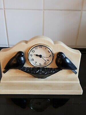 Vintage Past Times Art Deco Style Bird Mantel Clock
