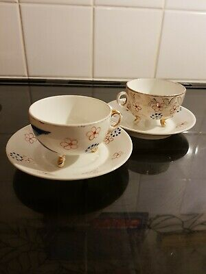 Antique Pair Of Bone China Cups & Saucers In Blue/red /gold With Studded Feet