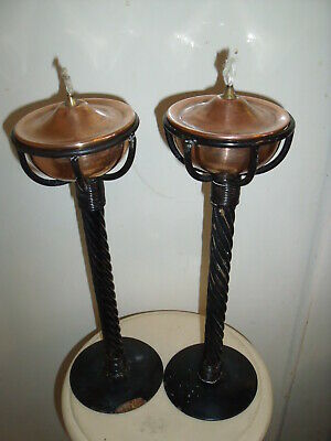 Pair of Very Rare Vintage Metal & Copper Oil Lamps