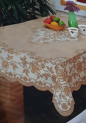 WHITE 100% VINYL EMBOSSED LACE TABLECLOTH TABLE COVER - RECTANGLE 135 x 180cm