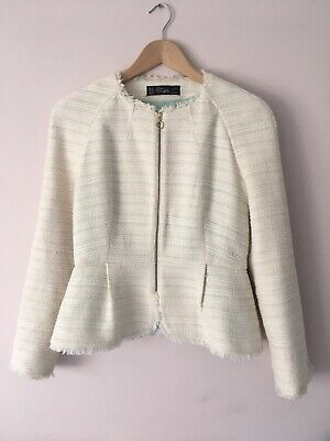 a6a23957 NWOT Zara Cream Fantasy Boucle Tweed Jacket Chanel Inspired Size M 10-12