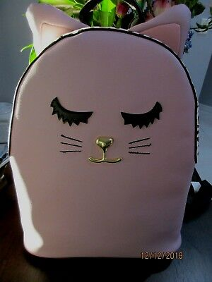 35ab459d473b Luv Betsey Johnson Kitsch Large Cat Face Snow Leopard Backpack Mauve Pink  B&W