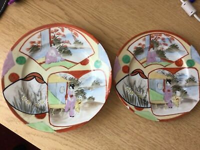 Antique Japanese or Chinese handpainted porcelain plates