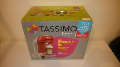 TASSIMO by Bosch Happy TAS1006GB Coffee Machine - Red & White - RRP £99.99 - NEW