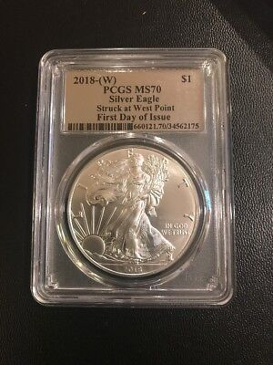 2018-(w) Silver Eagle PCGS MS70 First Day Of Issue Silver Foil Pop 10. LAST ONE!