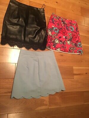 Job Lot Bundle of Mini Skirts Size 6 Extra Small XS Leather Lace Scallop Floral