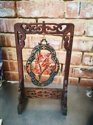Antique Vintage Chinese Wooden Carved Stand With Glass Flower Hanging Pendant