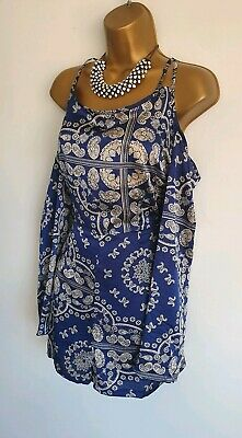 e56c27431b4f Missguided BNWT blue paisley print cold shoulder silky smart sexy playsuit  14