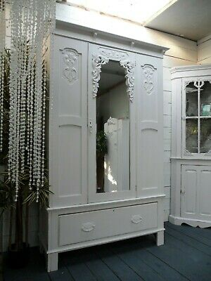 Beautiful Vintage Painted Victorian/Nouveau Style Mirrored Wardrobe Shabby Chic