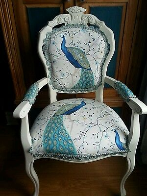 Louis French Style Carver  Chair In Peacock Fabric +Cushion Cover