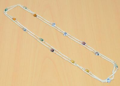 925 Silver Plated Faceted Citrine Quartz Blue Quartz Necklace Kb304