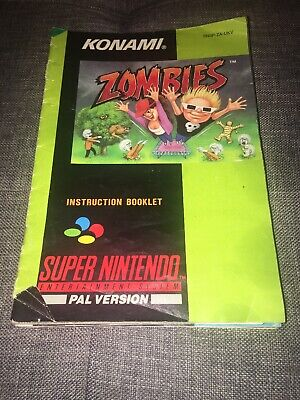 Zombies (ate my neighbours) Snes Super Nintendo Instruction Booklet UKV Pal