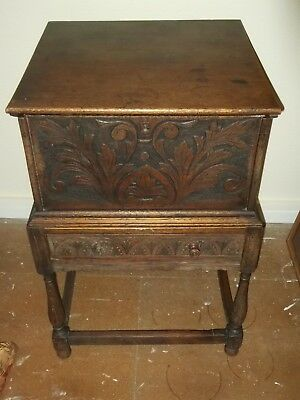 Antique Oak Boarded Chest with drawers on Stand
