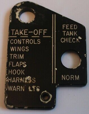 USAF F-4C Phantom II, Front Instrument Panel, Take Off Checklist Placard