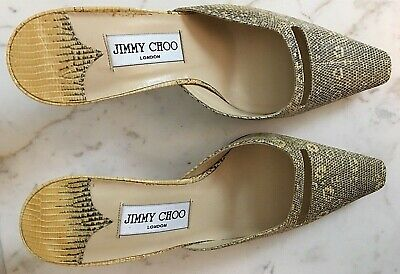 68ca14240c6 NEW JIMMY CHOO 7.5 Brown Beige Snakeskin Leather Mule Pump Kitten Heels  Shoes