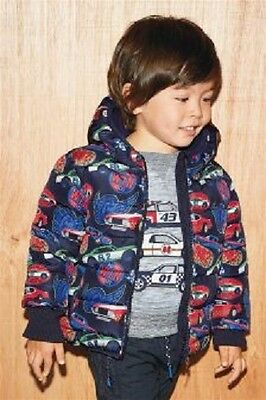 BNWT NEXT Boys Dark Blue Car Print Padded Coat Hooded Jacket 12-18 Months