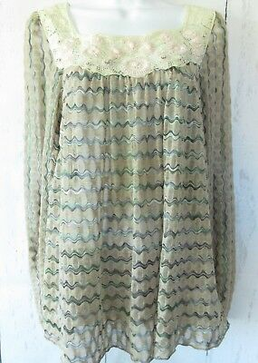 73755ab62db1f Free People New Romantics Top M Medium Crochet Beaded Peasant Wavy Stripe  Sheer
