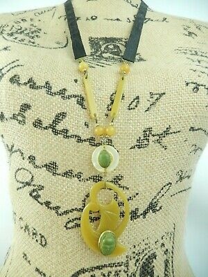 Antq Victorian Celluloid Egyptian Revival French Faience Scarab Ribbon Necklace