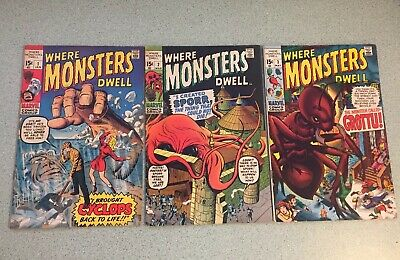 Where Monsters Dwell #1 2 3 1969 1970 VF Jack Kirby Ayers Stan Lee Marvel Lot