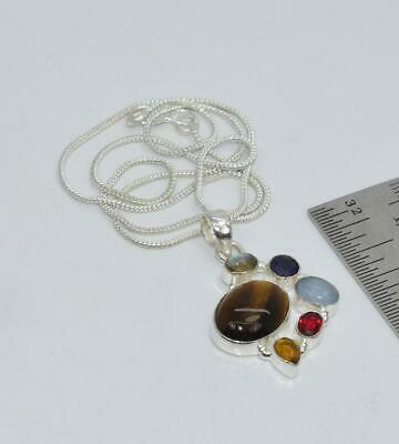925 SILVER PLATED TIGER EYE AND MIX STONE CHAIN PENDANT- 19.5 INCH dY025