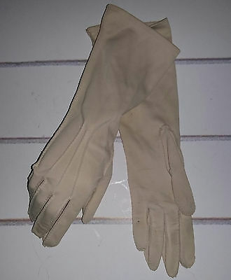 Vintage 1960's Mid Length Biege Evening Gloves. Size 7. Made in Philippines.