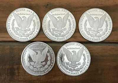 Lot of 5 (Five) 1 Oz. Morgan Silver Bullion Round .999 Fine Rounds