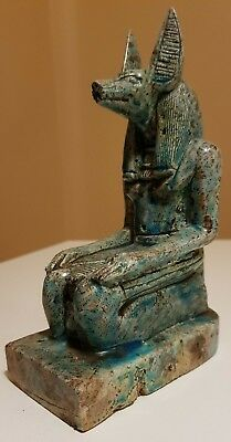 ANCIENT EGYPTIAN ANTIQUES Large Set Statue Of God ANUBIS Blue Glazed Stone BC