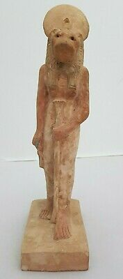 ANCIENT EGYPTIAN ANTIQUES Statue Of Goddess SEKHMET With Ankh in Hand EGYPT BC