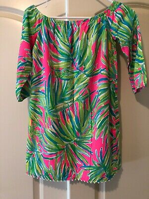 30072e1dee79a NWOT Lilly Pulitzer Mini Enna Tunic Dress   Off Shoulder   Green Pink 8–10