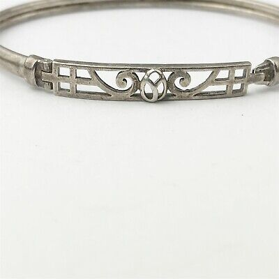 Vintage Solid Sterling Silver Ladies Modernist Fancy Scottish Celtic Bangle