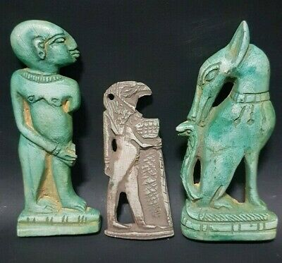 ANCIENT EGYPTIAN ANTIQUES Rare 3 Amulets EGYPT Luxor Handmaid Stone BC