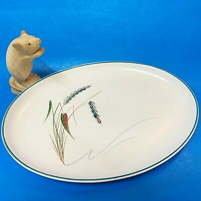 Vintage Denby Greenwheat Stoneware 32cm Oval Platter- Discontinued, Signed