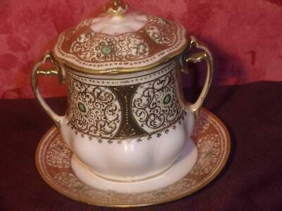 Antique~ Nippon Porcelain Hand Painted Condensed Milk Container Tableware~ W Lid