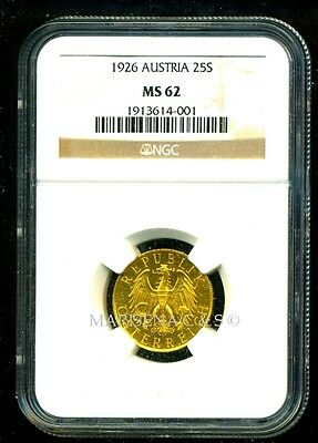 Austria 1926 Gold Coin 25 Schilling * Ngc Certified Genuine Ms 62 * Exquisite