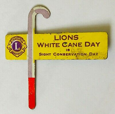 White Cane Day Sight Conservation Day Lions Club Pin Badge Rare Vintage (N17)