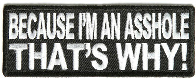 BECAUSE I'M AN AS$HOLE, THAT'S WHY - IRON or SEW ON PATCH