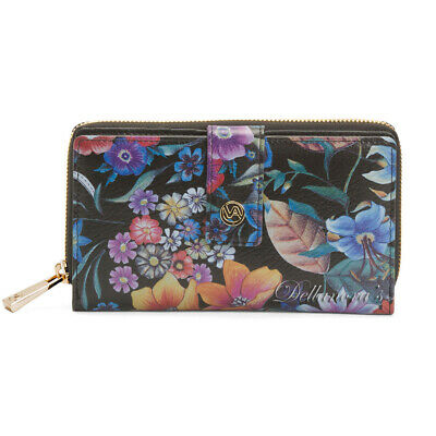 VALENTINA ITALIA Made in Italy Black Floral Leather Zip-Around Snap Wallet • NEW