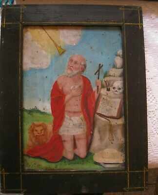 1800's Original Retablo On Tin With The Image Of Saint Jerome Very Well Done